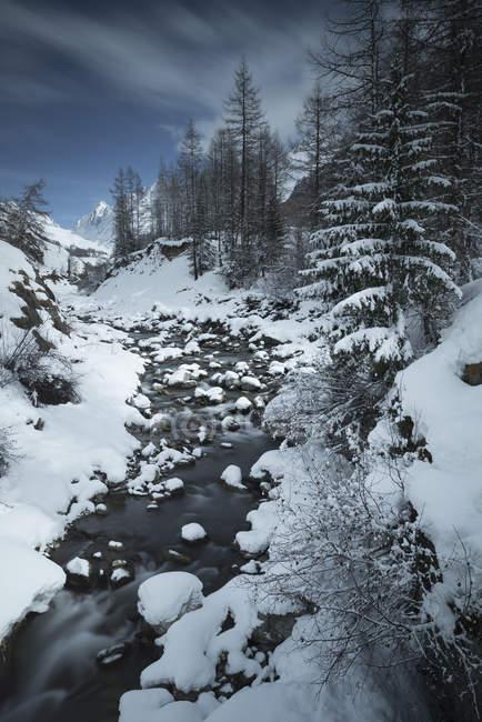 Живописный вид альпийских зимний пейзаж, Blatten, Альпы, Швейцария — стоковое фото