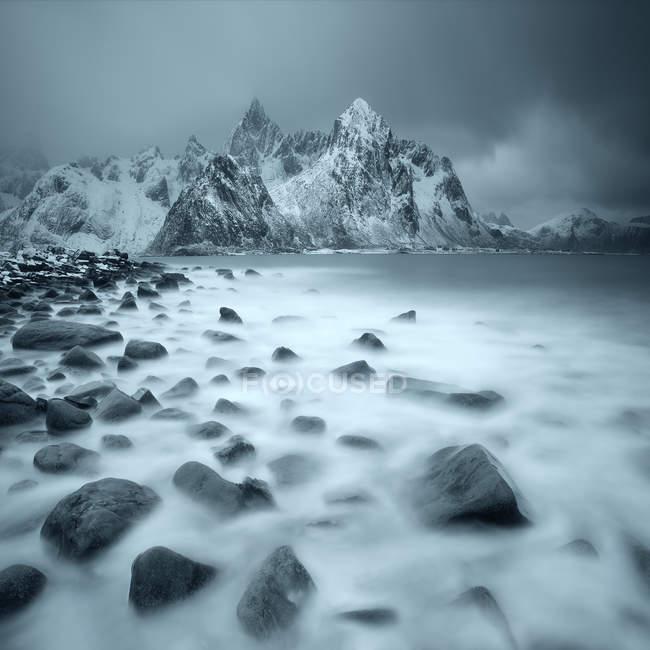 Scenic view of Winter landscape, Lofoten, Norway — Stock Photo