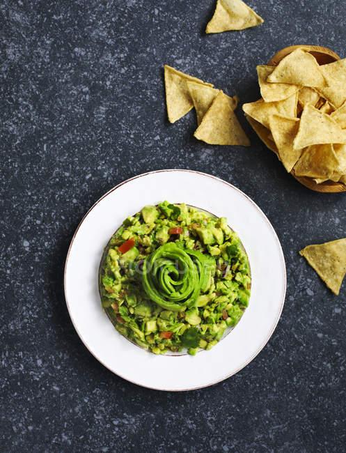 Guacamole und Tortilla-Chips — Stockfoto