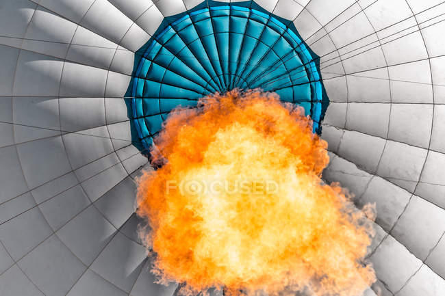 Low angle view of flame inside a hot air balloon — Foto stock