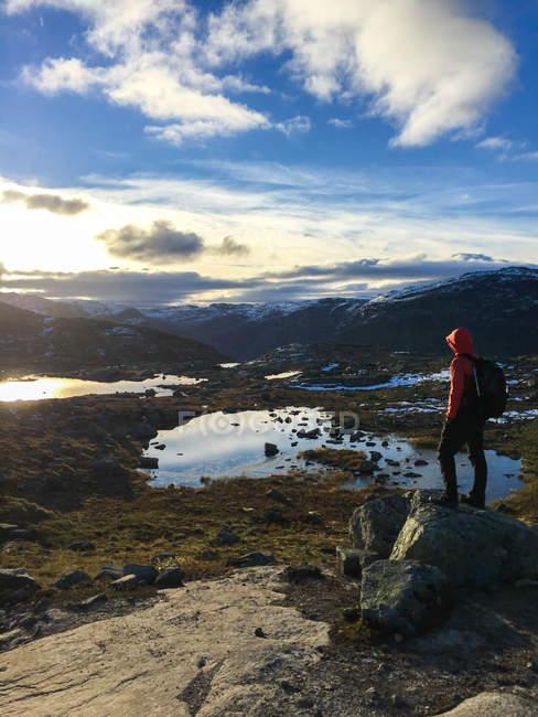 Hiker standing on rocks looking at view, Odda, Hordaland, Norway — Stock Photo