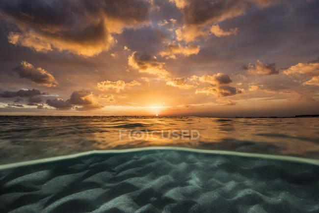 Plan à deux niveaux au-dessus et au-dessous de l'océan, Tasmanie, Australie — Photo de stock