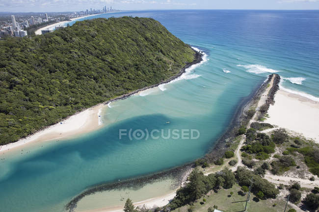Aerial view of Tallebudgera Creek and Gold Coast, Queensland, Australia — Stock Photo