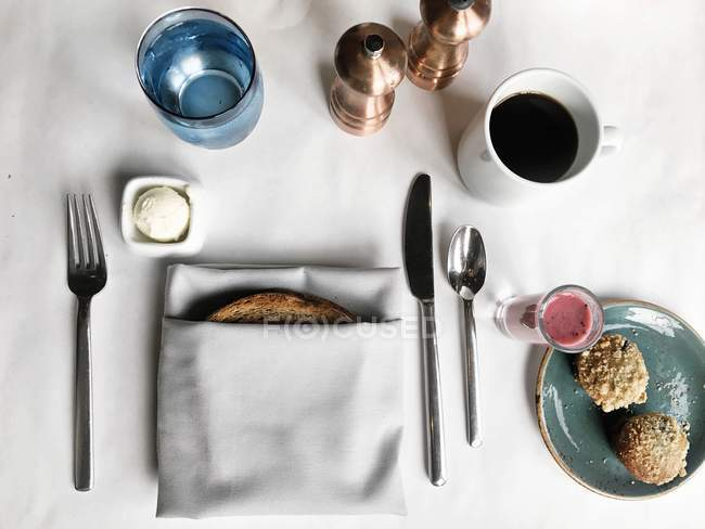 Top view of Breakfast Place setting — Stock Photo