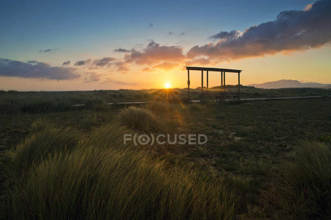 Scenic view of The Strait Natural Park at sunset, Tarifa, Cadiz, Andalucia, Spain — Stock Photo