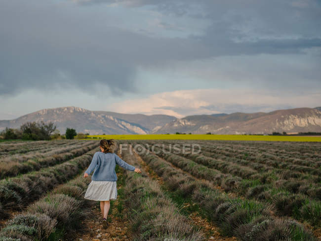 Woman running through a lavender field, Valensole, Provence, France — Stock Photo