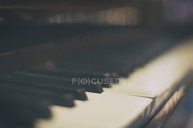 Close-up view of piano keys, blurred focus — Stock Photo