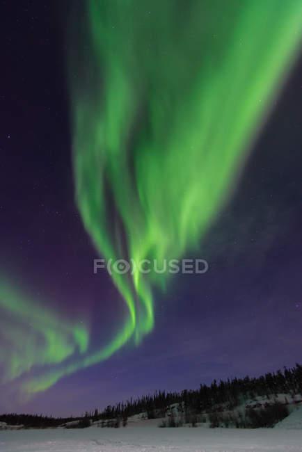 Живописный вид на величественное северное сияние, Йеллоунайф, Северо-Западные Территории, Канада — стоковое фото