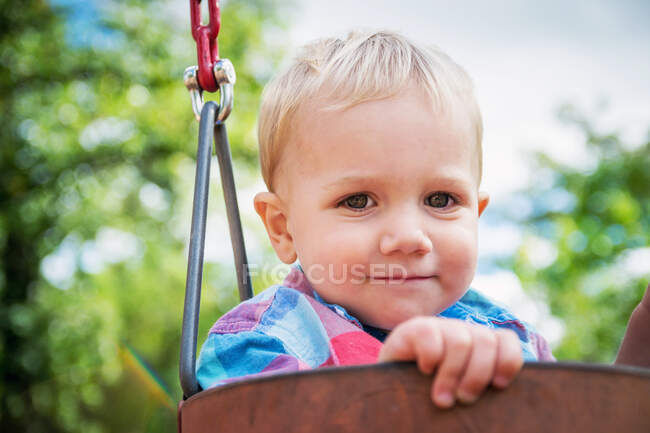 Portrait of a smiling boy sitting in a swing — Stock Photo