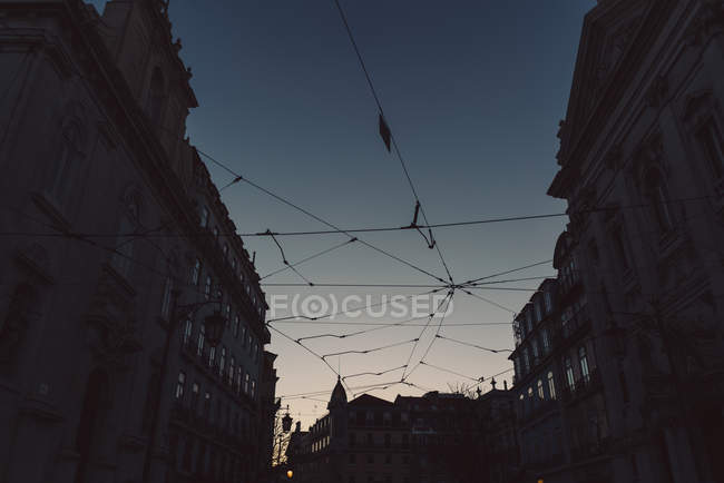 Low Angle View Of Power Lines and tram lines, Lisbon, Portugal — Foto stock