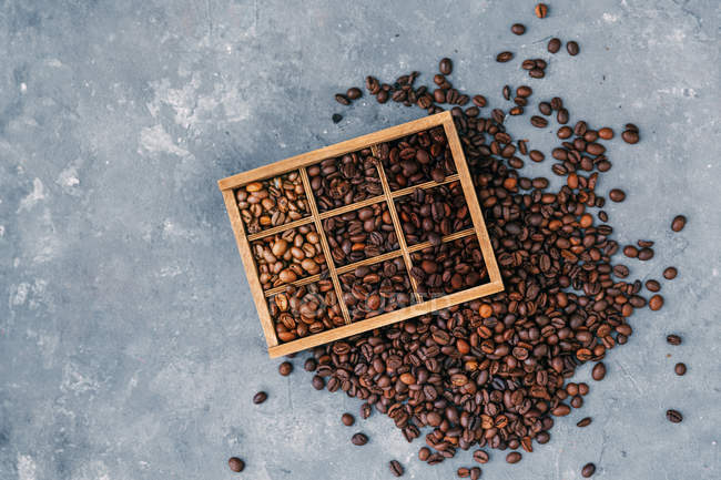 Vista superior de estante con granos de café - foto de stock