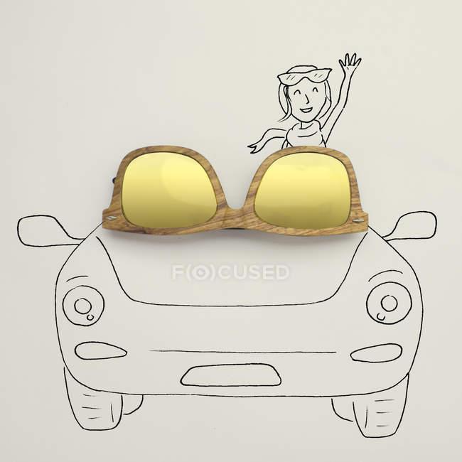 Closeup view of Conceptual woman in a convertible car — Stock Photo