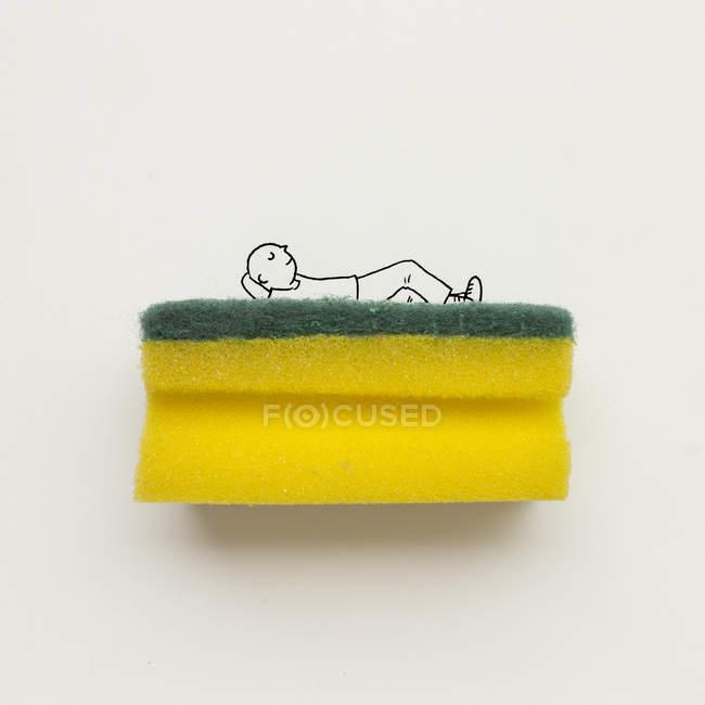 Vue en gros plan de l'homme conceptuel dormant sur un lit — Photo de stock