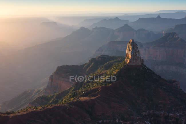 Vista panorâmica do pôr do sol no ponto Imperial, borda norte, Grand Canyon, Arizona, América, Estados Unidos da América — Fotografia de Stock