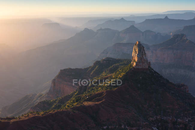 Scenic view of Sunrise at Point Imperial, North Rim, Grand Canyon, Arizona, America, USA — Stock Photo