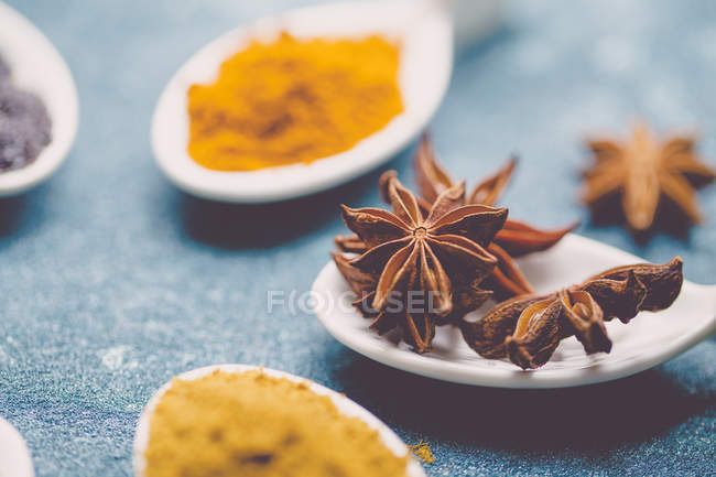 Porcelain spoons with spices over blue table — Stock Photo