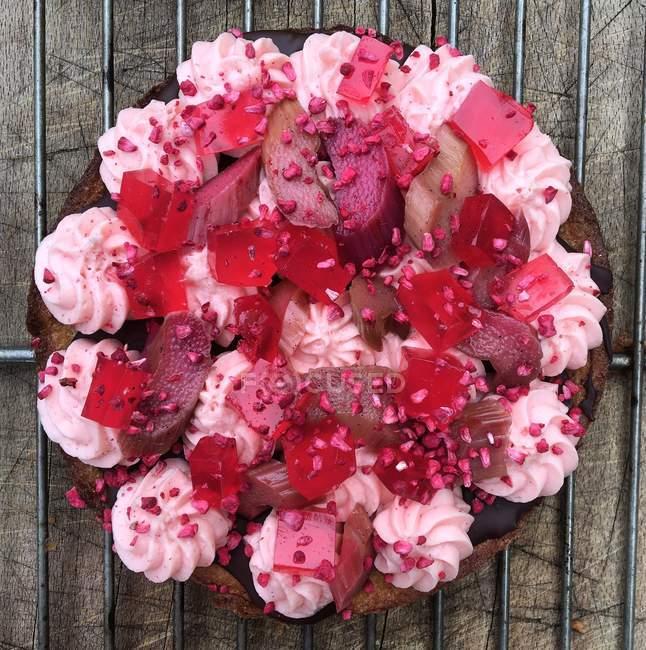 Pastel de fresas y ruibarbo en metal estante de enfriamiento - foto de stock