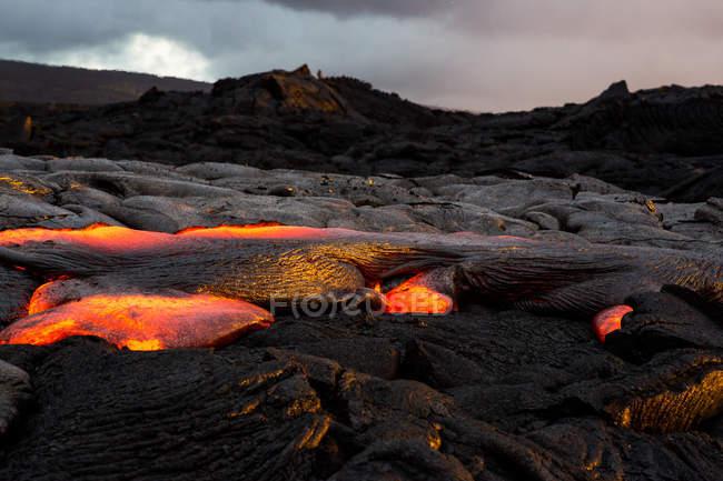 Fluxo de Lava do nascer do sol no Parque Nacional Vulcão de Havaí, Havaí, América, Estados Unidos da América — Fotografia de Stock