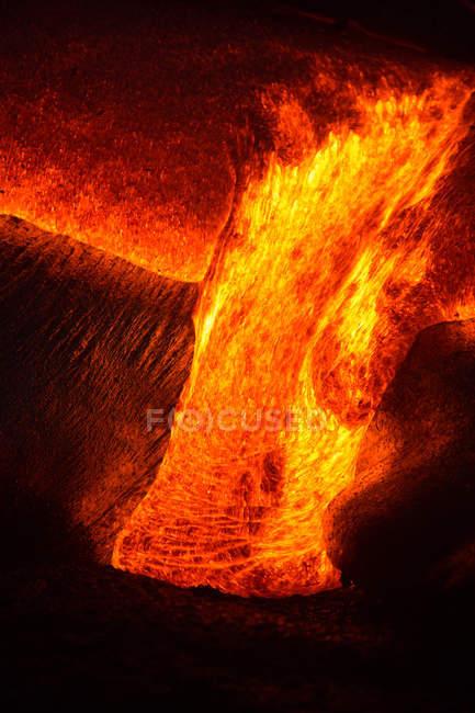 Nahaufnahme von einem Lava Flow auf einem Berg, Hawaii, Amerika, Usa — Stockfoto