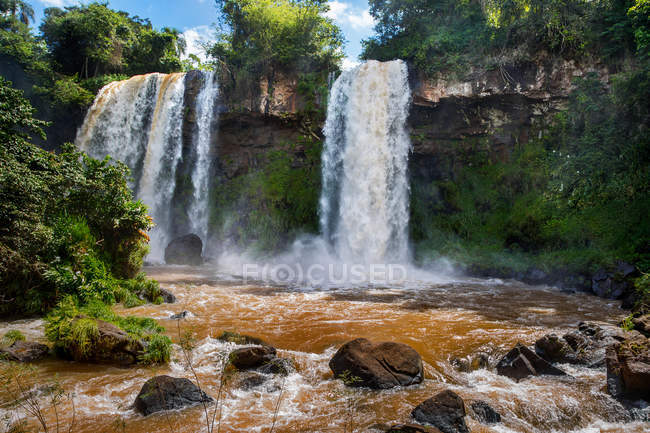 The Two Sisters Falls, in honour of Maria and Teresa, daughters of the second Governor of Misiones - Juan Jose Lanusse. — Stock Photo
