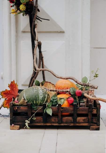 Деревенская деревянная коробка с тыквами — стоковое фото