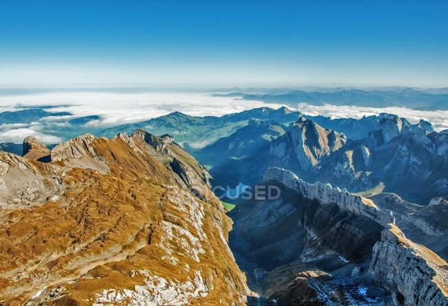 Vue panoramique sur le paysage montagneux, Mont Santis, Suisse — Photo de stock