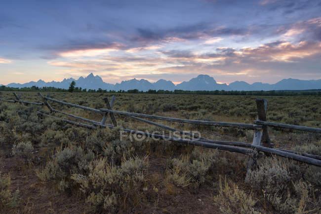 Scenic view of Rural landscape, Moran, Wyoming, America, USA — Stock Photo