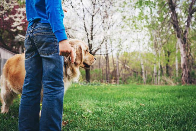 Хлопчик стояв у саду зі своїм золотим ретрівер собака — стокове фото