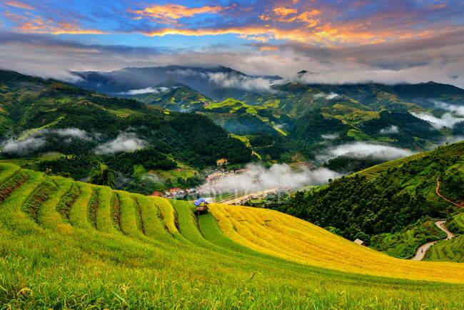 Мальовничий вид на красиві зелені рисових тераси під час заходу сонця, В'єтнам — стокове фото