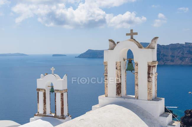 Veduta panoramica della caratteristica architettonica, Oia, Santorini, Grecia — Foto stock