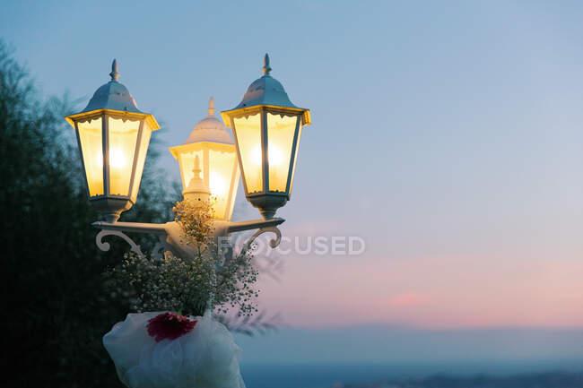 Vista de clausura de la decoración floral en las luces de las calles - foto de stock