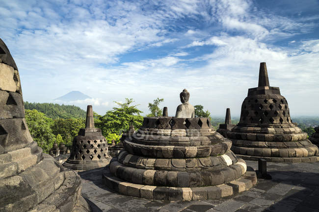 Scenic view of Stupas at Borobudur temple, Central Java, Indonesia — Stock Photo
