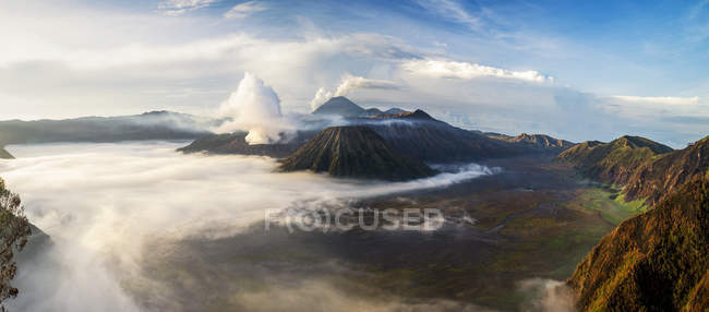 Aerial view of Mt Bromo from Mt Penanjakan, East Java, Indonesia — Stock Photo