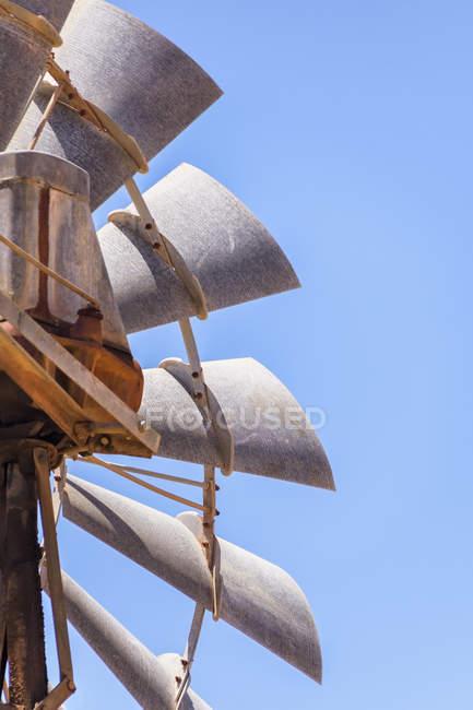 Close-up of an Old metallic wind turbine — Stock Photo