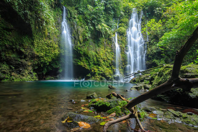 Waterfall in a tropical rainforest, West Sumatra, Indonesia — стокове фото
