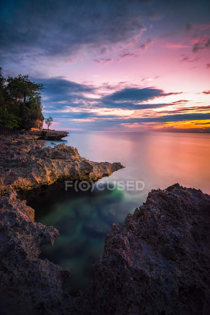 Vista panoramica sull'Oceano Tramonto, Gorontalo, Indonesia — Foto stock