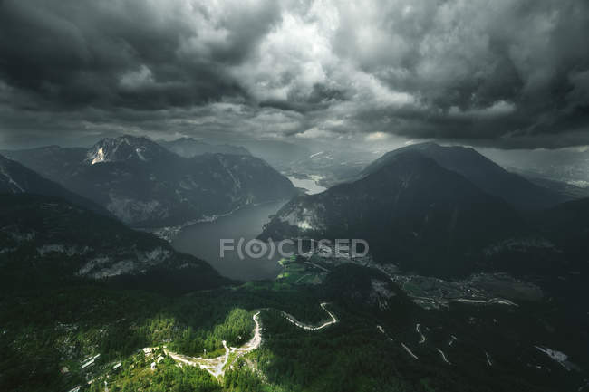 Aerial view of mountains and a lake, Austria — Stock Photo