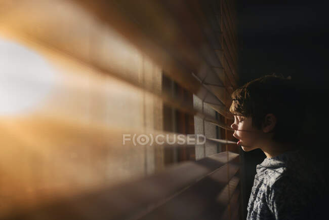 Мальчик стоит у окна и смотрит сквозь жалюзи. — стоковое фото