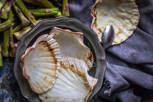 Gusci vuoti di capesante sul tavolo dopo cena — Foto stock