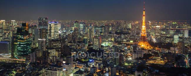 Vue aérienne de tokyo au paysage urbain de nuit, japon — Photo de stock