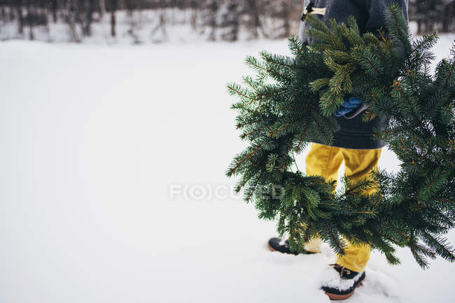 Cropped image of Boy standing in the snow holding a Christmas wreath — Stock Photo