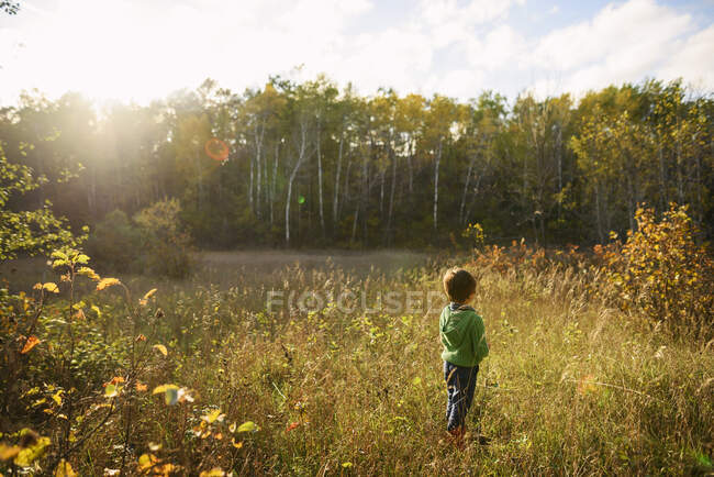 Хлопчик стоїть на полі. — стокове фото