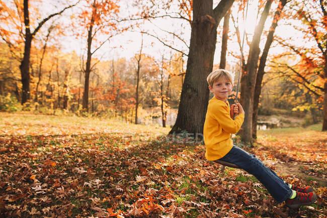 Niño jugando en el patio trasero columpio de madera - foto de stock