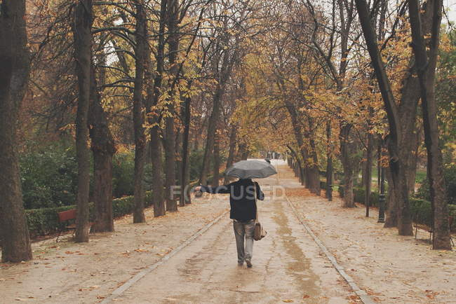 Man walking through the park in the rain, Madrid, Spain — Stock Photo