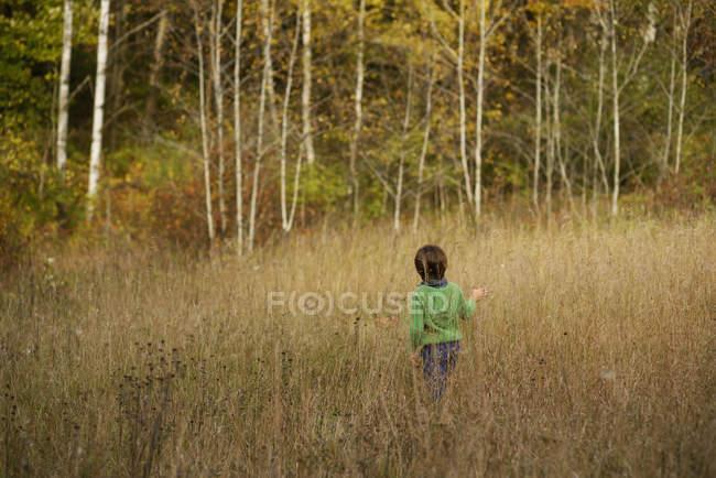 Vue arrière du garçon jouant dans un champ — Photo de stock