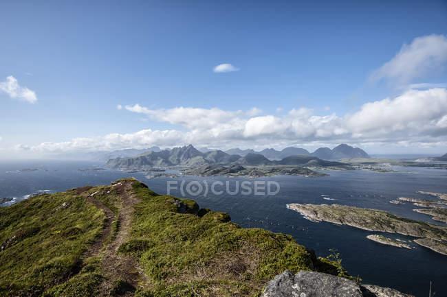 View from Mt. Middagstinden, Vestvagoy, Nordland, Norway - foto de stock