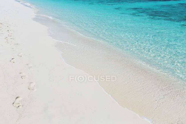 Footprints in sand on a tropical beach, Maldives — Stock Photo