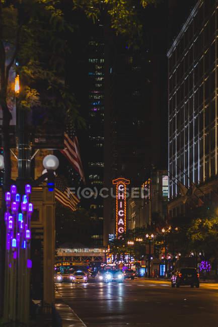 Vista panorâmica da noite no chicago, eua — Fotografia de Stock