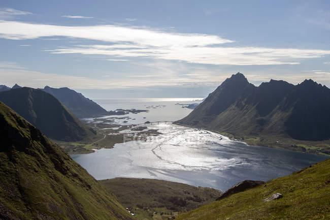 Vista do Mt Kvasstinden Andoya, Lofoten, Nordland, Noruega — Fotografia de Stock