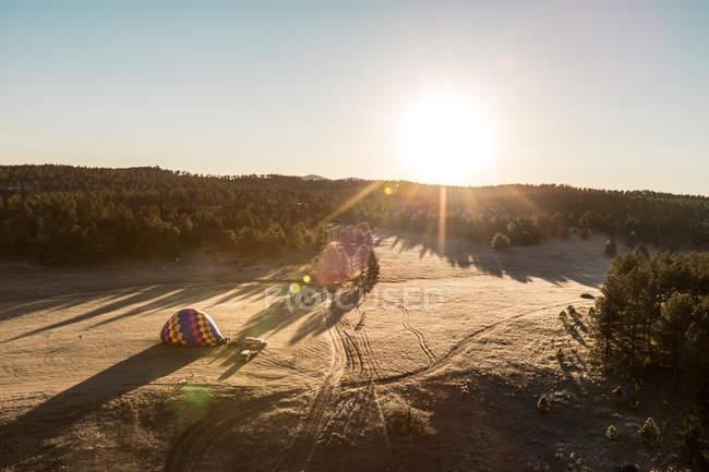 Vue aérienne d'une montgolfière gonflée, Dakota du Sud, Amérique, États-Unis — Photo de stock